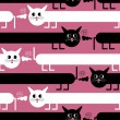 Stock Vector: Crazy cats on pink background - seamless pattern