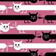 gatos locos en fondo rosa - patrón sin costuras — Vector de stock