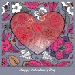 Valentines day card with floral elements — Stock Vector