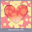 Valentines day card with heart and flowers — Imagen vectorial