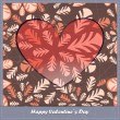 Valentines day card with heart and leaves - Stock Vector