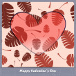 Valentines day card with heart and leaves — Stock Vector