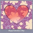 Valentines day card with heart and flowers — Stock Vector #24856611