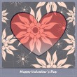 Valentines day card with heart and flowers - Stock Vector