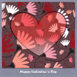 Valentines day card with heart and flowers — Stock Vector
