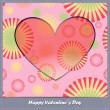 Valentine's day card with heart and flowers — Vecteur #24856731