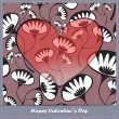 Valentine's day card with heart and flowers — Vecteur #24856739