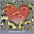 Valentine's day card with heart and flowers — Stok Vektör