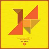 Colorful tangram bird - vector background — Stock Vector
