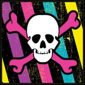 Calavera blanca sobre fondo colorido grunge — Vector de stock