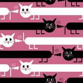 Crazy cats on pink background - seamless pattern — Stok Vektör