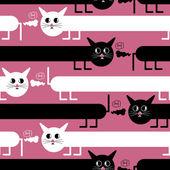 Gekke katten op roze achtergrond - naadloos patroon — Stockvector
