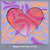Valentines day card with heart and leaves — Vetor de Stock
