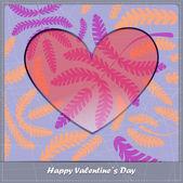 Carta di san valentino con il cuore e foglie — Vettoriale Stock