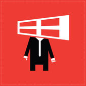 Cartoon man with window head for copyspace — Stock Vector