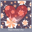 Valentine's day card with heart and flowers — Vecteur #24876339