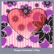 Valentine's day card with heart and flowers — Vecteur