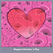 Valentine's day card with heart and flowers — Vecteur #24876373