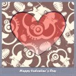 Valentines day card with heart and cartoon elephants — Stock Vector