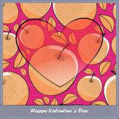 Walentynki karty z serca i jabłka — Wektor stockowy