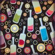 Colorful bottles on black background - pattern — Vector de stock