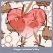Valentines day card with heart and birds - Stock Vector