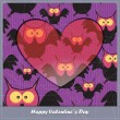 Valentines day card with heart and owls - Stock Vector