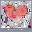 Valentines day card with colored bottles — Stock vektor