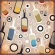 Different colorful bottles - pattern — Vector de stock #24914291