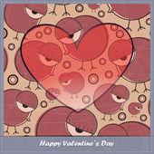 Sevgililer günü kartı kalp ve kuşlar — Stok Vektör