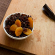 Stock Photo: Dried apricots, raisins