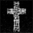 White cross on black background — Imagen vectorial