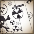 Danger warning-nuclear,bio hazard,toxic substance — Stockvectorbeeld