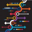 Abstract colorful arrows on black background — Image vectorielle