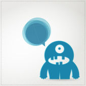 Monster on white background with speech bubbles — Stock Vector