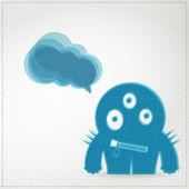 Monster op witte achtergrond met spraak bubbels — Stockvector