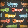 Crazy cats - seamless pattern — Stockvectorbeeld