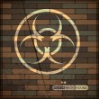 Stock Vector: Background with biohazard symbol on brick wall