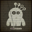 Monster on old brick wall — Imagen vectorial