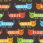 Crazy cats - seamless pattern — Stock Vector