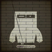 Monster on old brick wall — Stock Vector
