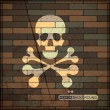 Stock Vector: Background with skull on brick wall