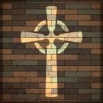 Cross on brick wall — Stock Vector #25912869