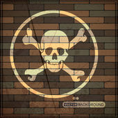 Background with skull on brick wall — Vector de stock