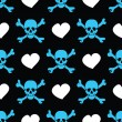 Blue skulls and white hearts on black background - seamless pattern — Stock Vector