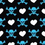 blauwe schedels en harten van de wit op zwarte achtergrond - naadloos patroon — Stockvector