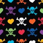gekleurde schedels en harten op zwarte achtergrond - naadloos patroon — Stockvector