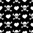 White skulls and hearts on black background - seamless pattern — Stock Vector