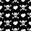 White skulls and hearts on black background - seamless pattern — Stock Vector #26629311