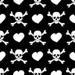 witte schedels en harten op zwarte achtergrond - naadloos patroon — Stockvector